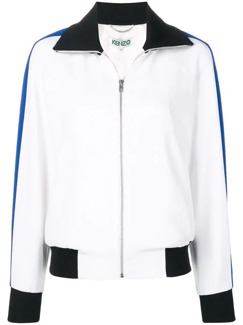 Kenzo 'Bamboo Tiger' Crepe Bomber Jacket In White