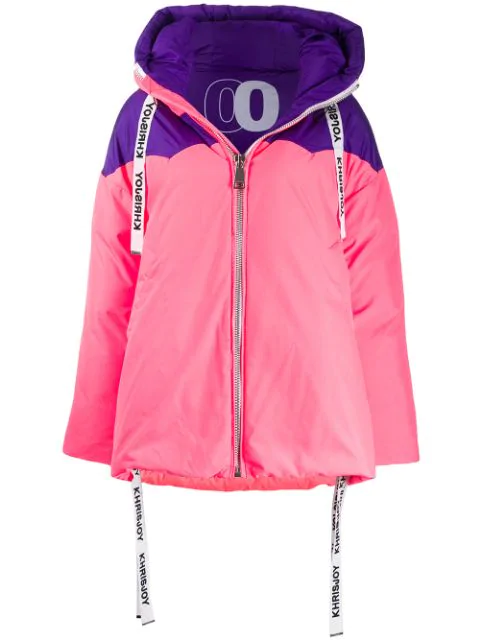 Khrisjoy Colour Block Oversized Puffer Jacket In Pink