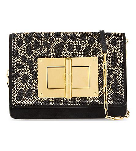 Tom Ford Natalia Medium Studded Shoulder Bag In Black&Gold