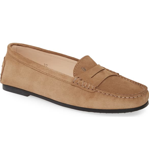 Tod's City Gommini Suede Penny Loafers In Tan Suede