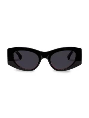 Le Specs Women's Extempore Cat Eye Sunglasses, 49mm In Black,smoke
