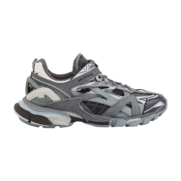 Balenciaga Track.2 Leather-Trimmed Nylon, Mesh And Rubber Sneakers In Grey