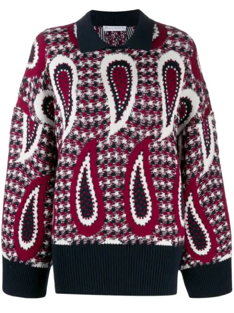 Jw Anderson Multicolor Women's Paisley Print Sweater In 450 Brown