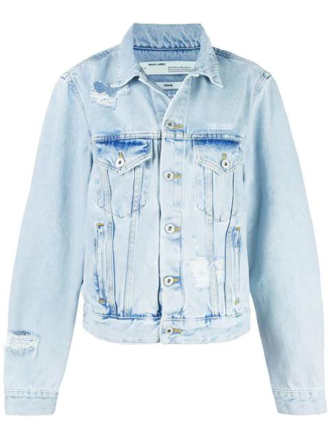 Off-white Blue Women's Light Blue Embroidered Denim Jacket
