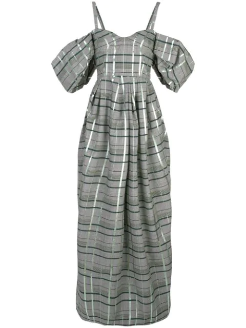 Rosie Assoulin Off-shoulder Check Gown In Grey