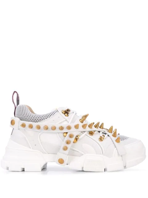 Gucci White Men's Flashtrek Removable Spikes Sneakers