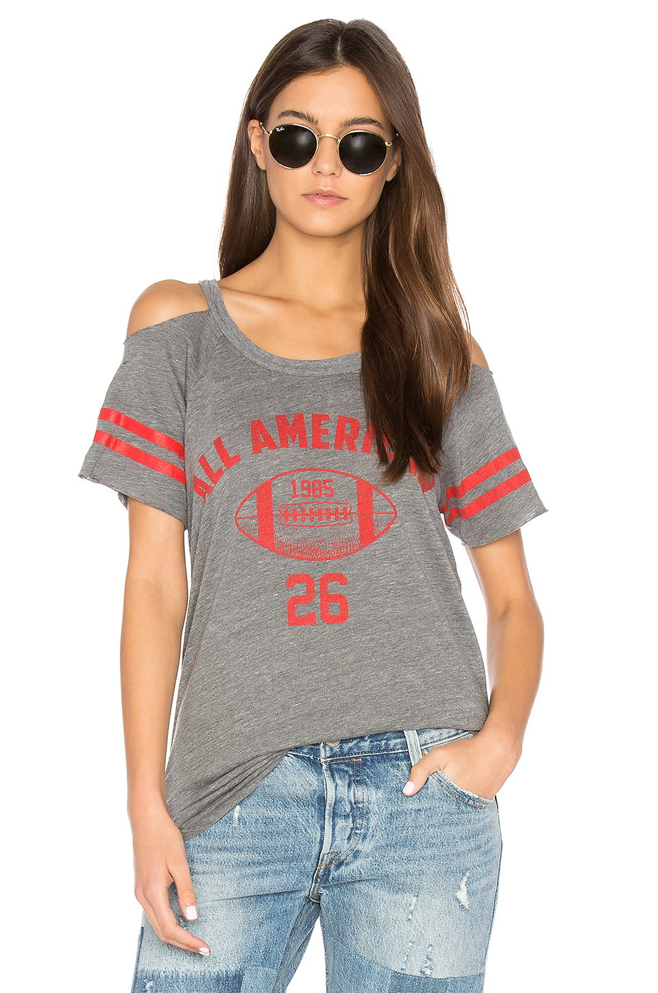 Chaser Striped Sleeve Cold Shoulder Tee In Streaky Grey