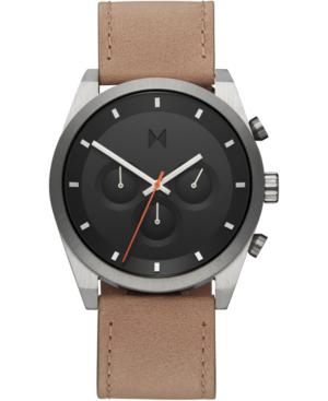 Mvmt Men's Chronograph Element Graphite Sand Leather Strap Watch 44mm In Sandstone