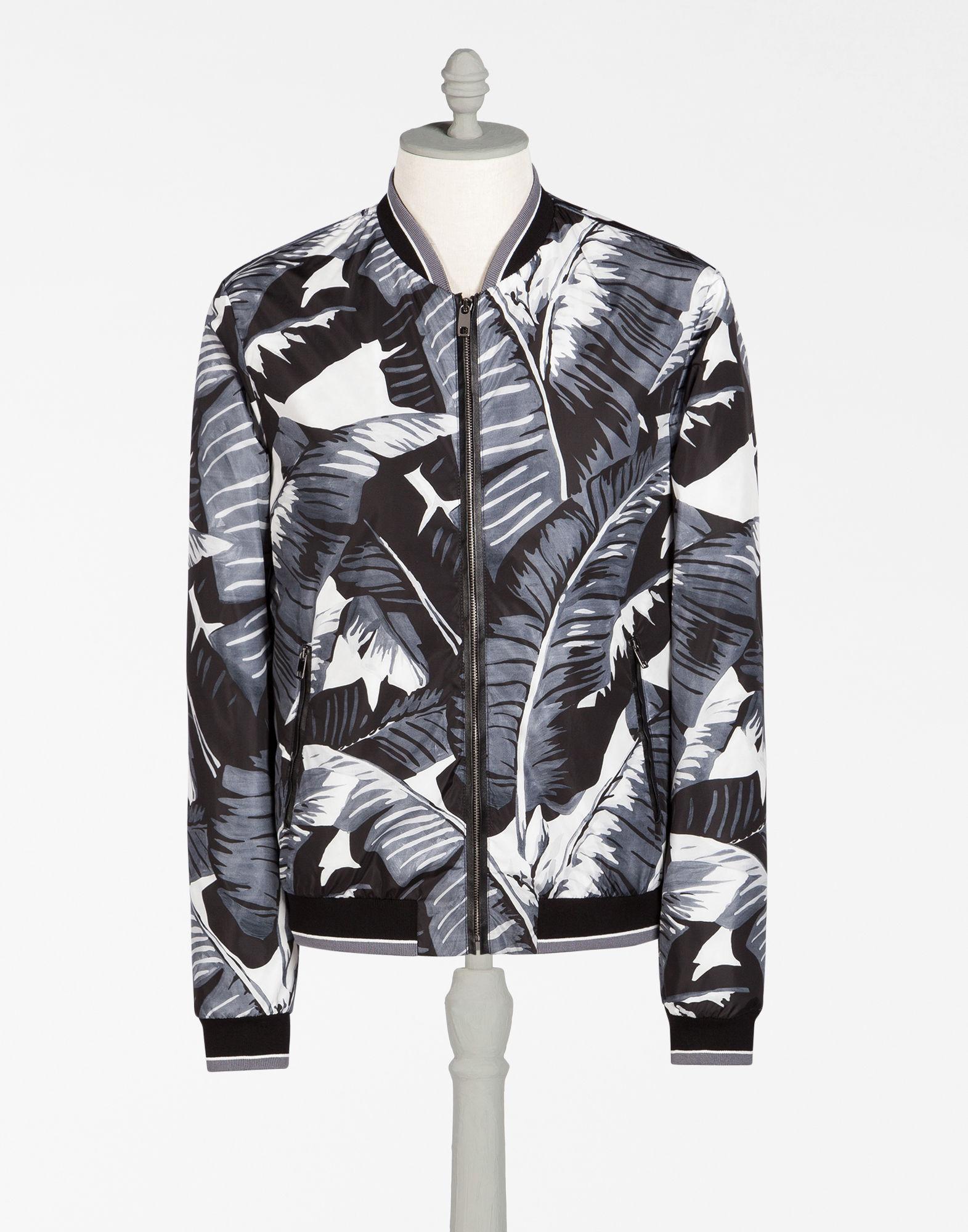 2af77d2d Dolce & Gabbana Bomber Jacket In Printed Nylon In Banana Leaf Print ...