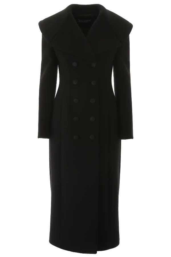 Dolce & Gabbana Long Wool Coat In Black
