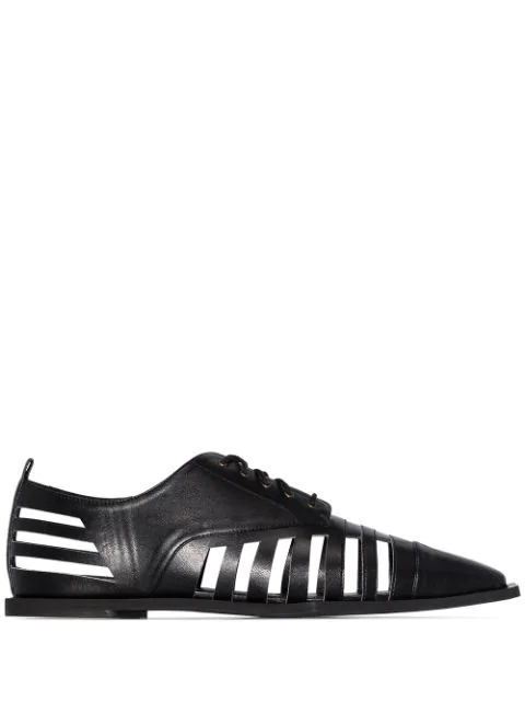 Rosie Assoulin Cutout Lace Up Oxford Shoes In Black