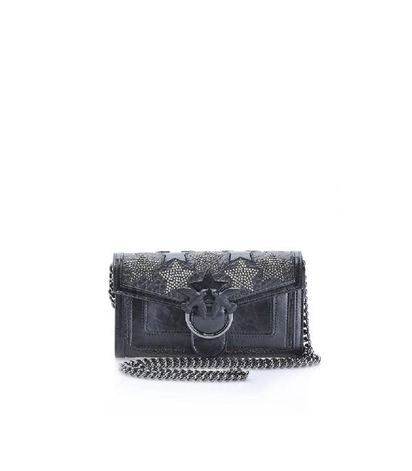Pinko Starry Sky Black Wallet With Shoulder Strap In Grey