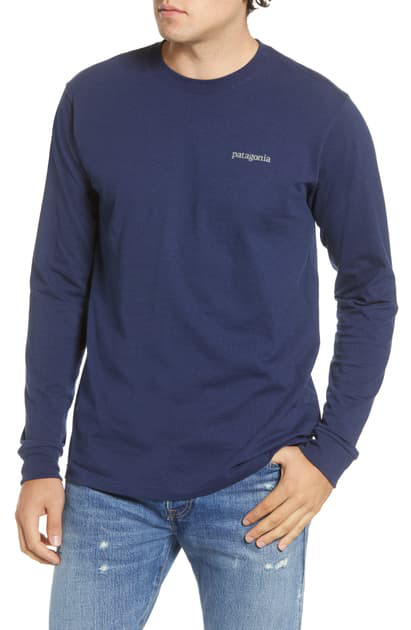 Patagonia Line Logo Long Sleeve Responsibili-tee T-shirt In Classic Navy