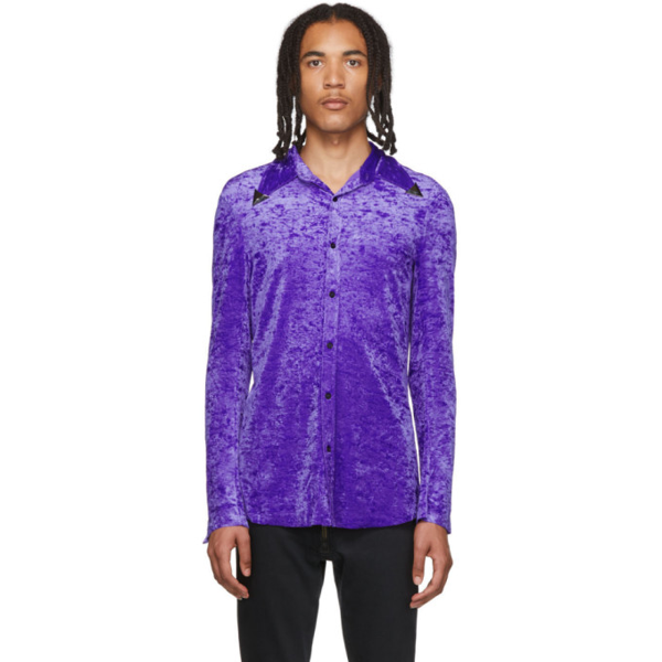 Sankuanz Metallic Collar Tip Shirt In Purple