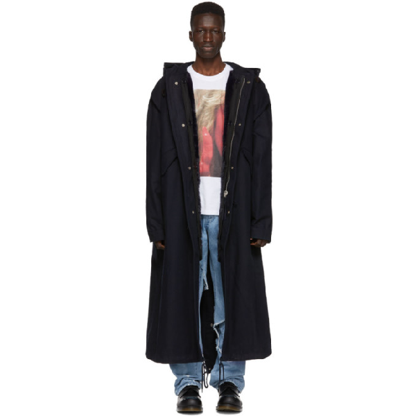 Raf Simons Navy Mother On Phone Long Parka