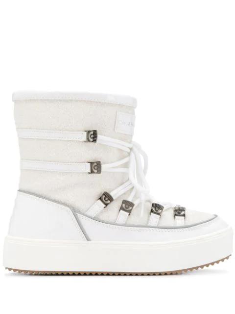 Chiara Ferragni White Polyester Ankle Boots In 009 Bianco