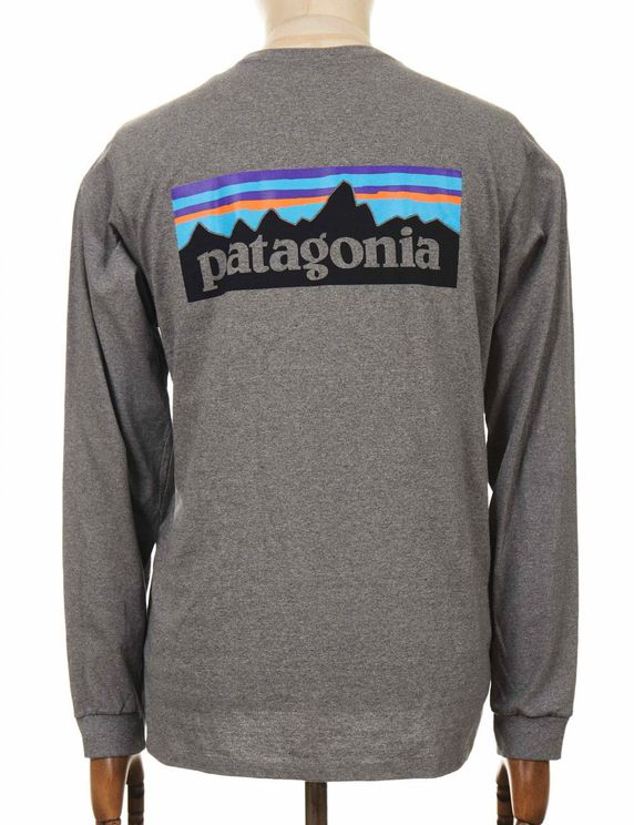 Patagonia L/s P-6 Logo Responsibili Tee - Gravel Heather In Gray