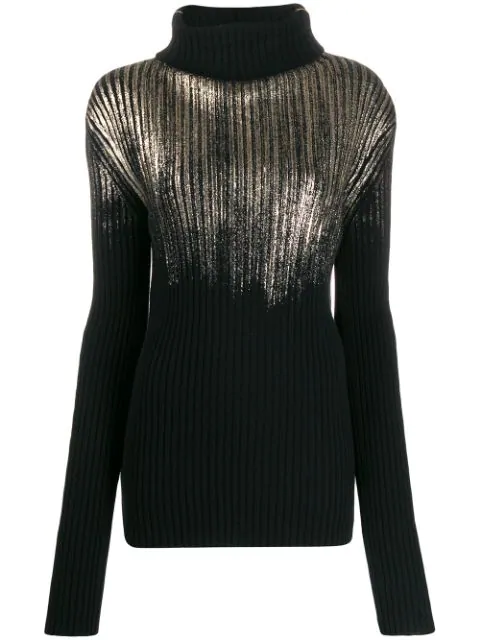 Ann Demeulemeester Ribbed Knit Sweater In 099 Black+gold Foil Print