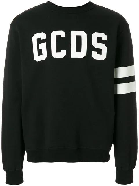 Gcds Reflective Patched Cotton Sweatshirt, Black