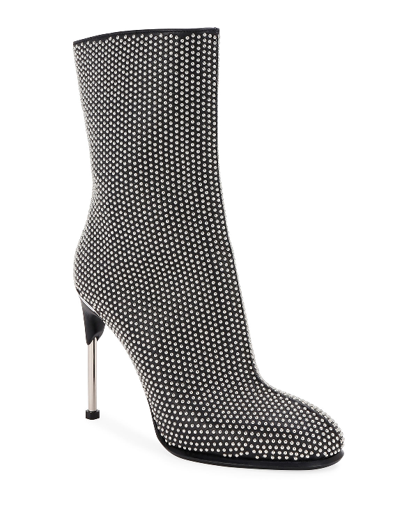 Alexander Mcqueen Leather Studded High Booties In Black/Silver