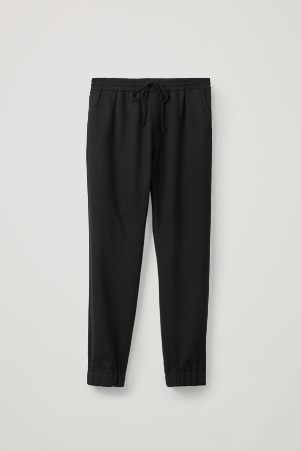 Cos Drawstring Wool Crepe Pants In Black