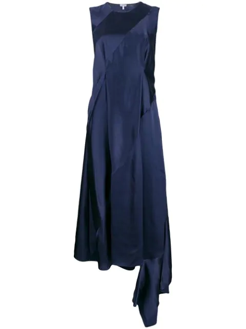 Loewe Asymmetric Back Cut Out Satin Dress In Blue