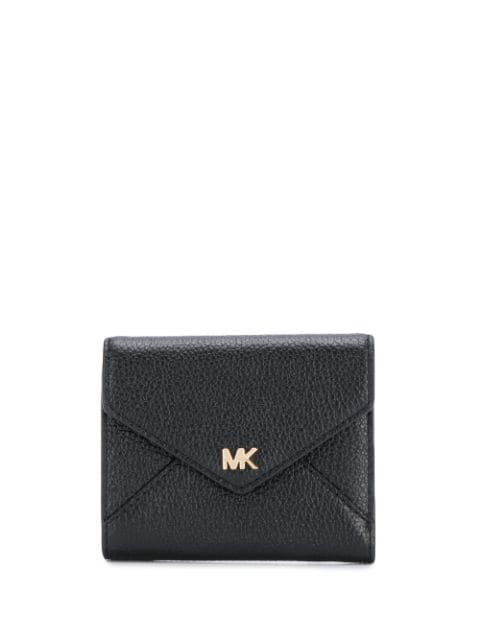Michael Michael Kors Logo Plaque Foldover Wallet In Black