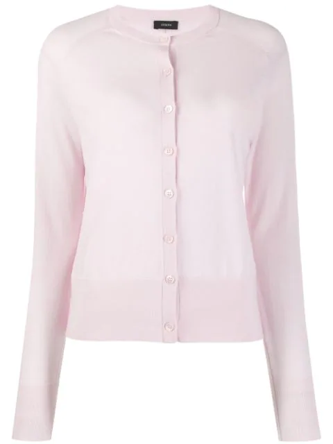 Joseph Crew Neck Cardigan In Pink