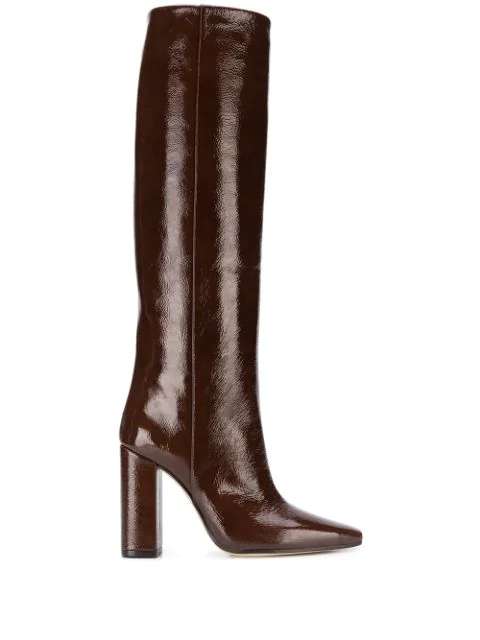 Paris Texas Square Toe High Boots In Brown