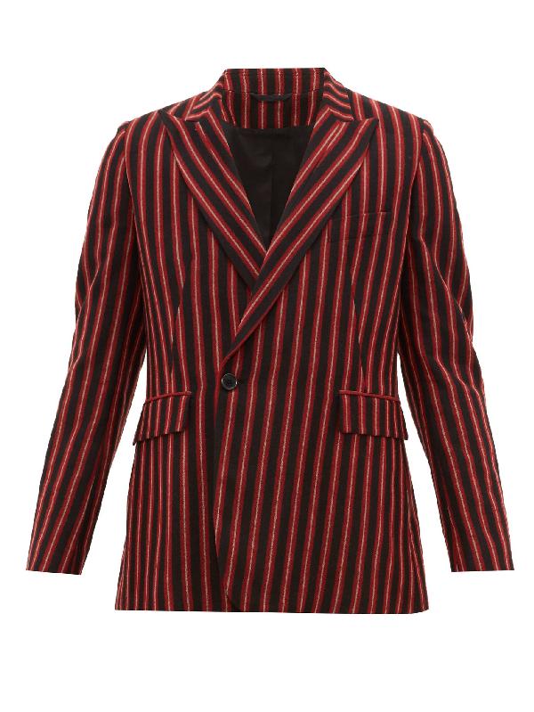 Ann Demeulemeester Striped Wool-blend Single-breasted Blazer In Black Red