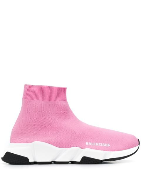Balenciaga Speed Stretch-Knit High-Top Sneakers In 5961 Pink