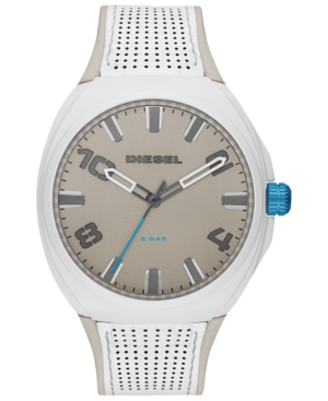 Diesel Men's Stigg Leather & Silicone Strap Watch, 48Mm In White