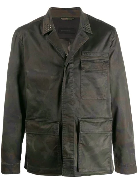 John Varvatos Embroidered Snake Military Jacket In Green