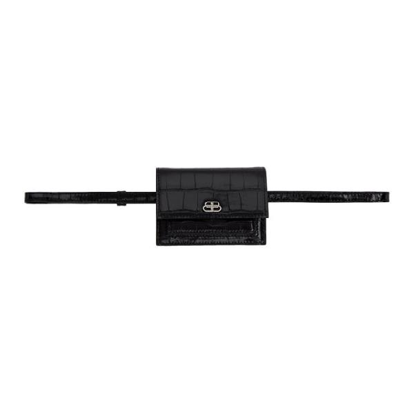 Balenciaga Black Croc Xxs Sharp Belt Bag In 1000 Black