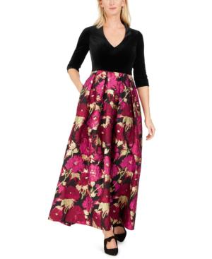 Eliza J Velvet & Floral Jacquard Ballgown In Black/red Floral