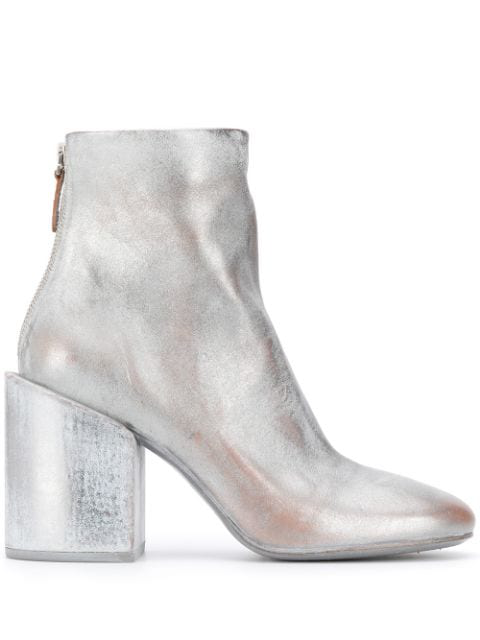 MarsÈLl Chunky Heel Ankle Boots In Silver