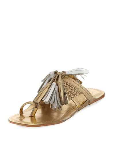 f3ea41262 Figue Scaramouche Metallic Tassel-Trim Toe-Ring Sandal