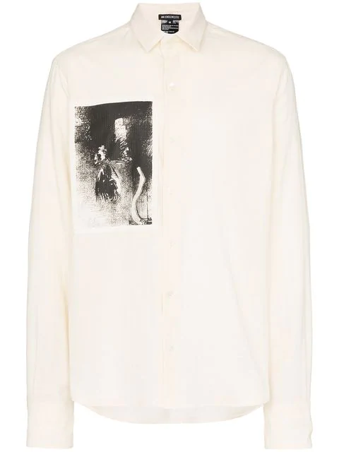 Ann Demeulemeester Printed Patch Shirt In Neutrals