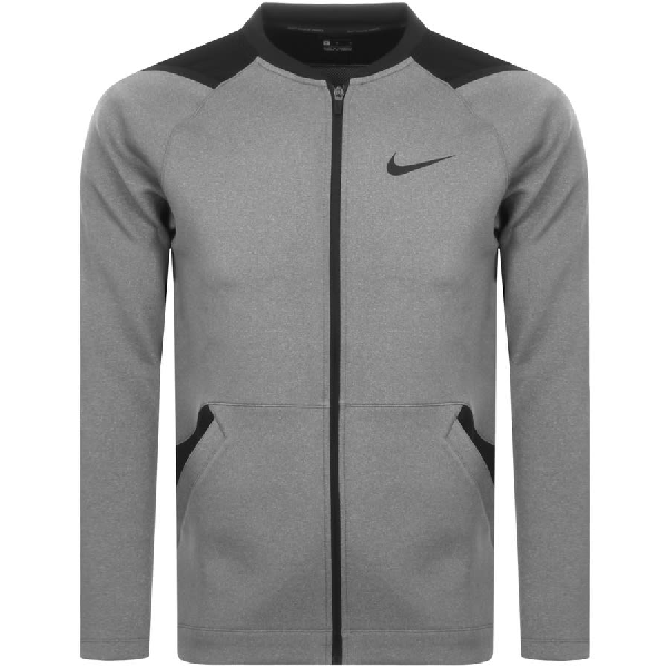 Nike Training Full Zip Logo Sweatshirt Grey