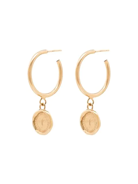 Holly Ryan Picasso Coin Drop Hoop Earrings In Gold