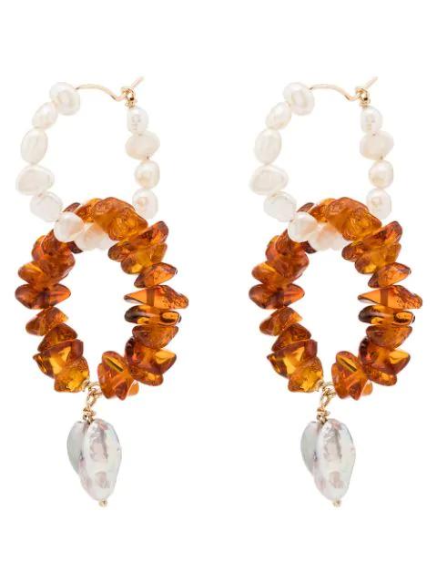 Holly Ryan Creolen Mit Perlen In Orange / White