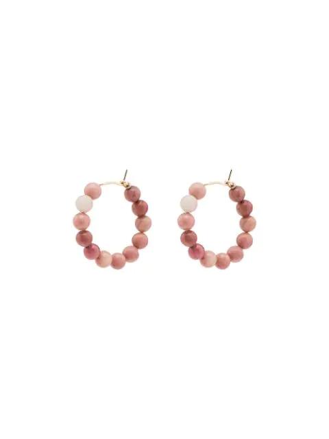 Holly Ryan Agate Beaded Hoop Earrings In Pink