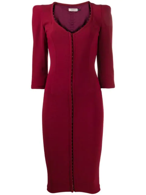 Murmur Front Hook Fitted Dress In Red
