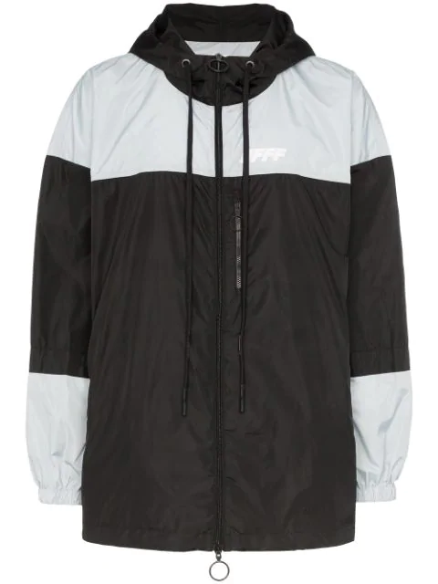 Off-White Packable Colour-Block Windbreaker Jacket In 1091 Black Silver