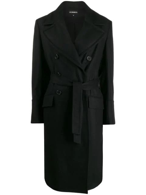 Ann Demeulemeester Double Breasted Coat In Black