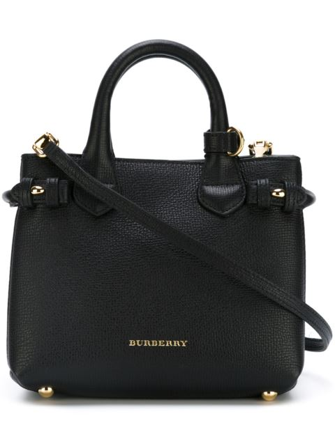 Burberry Banner Small House Check Derby Tote Bag, Black