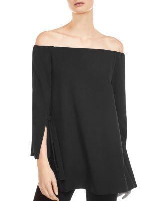 Halston Heritage Long-Sleeve Off-The-Shoulder Blouse In Black