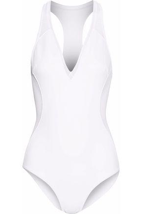 Stella Mccartney Neoprene & Mesh One-Piece Swimsuit, White