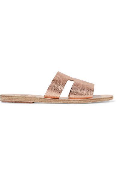 Ancient Greek Sandals Apteros Cutout Metallic Textured-Leather Slides In Pink