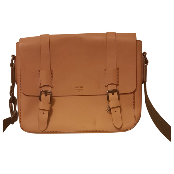 Fossil Beige Leather Bag
